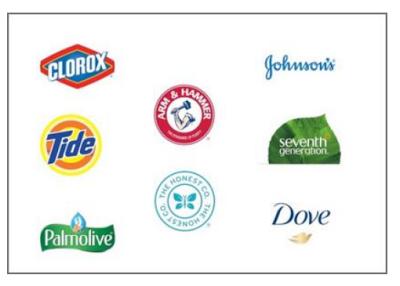 Clorox, Tide, Arm & Hammer, Seventh Generation, J&J, Honest Company, Palmolive, Dove